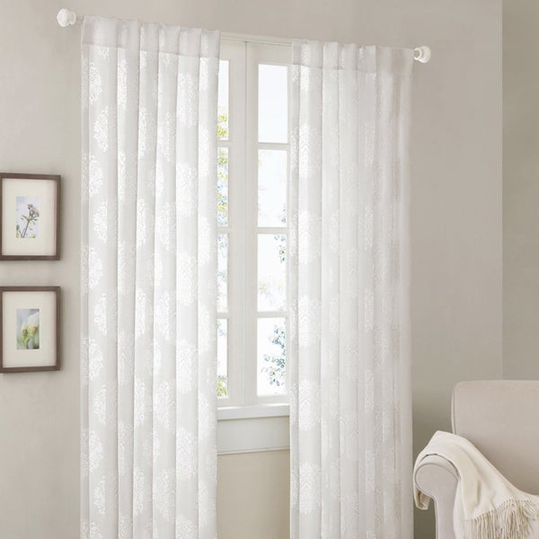 Madison Park Emerson Damask 84 Inch Curtain Panel Free