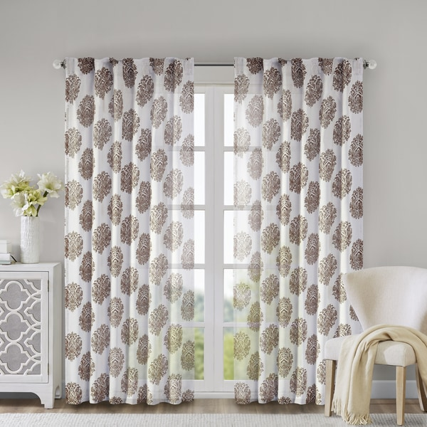 Madison Park Emerson Damask Brown 84-inch Burn Out Sheer Curtain