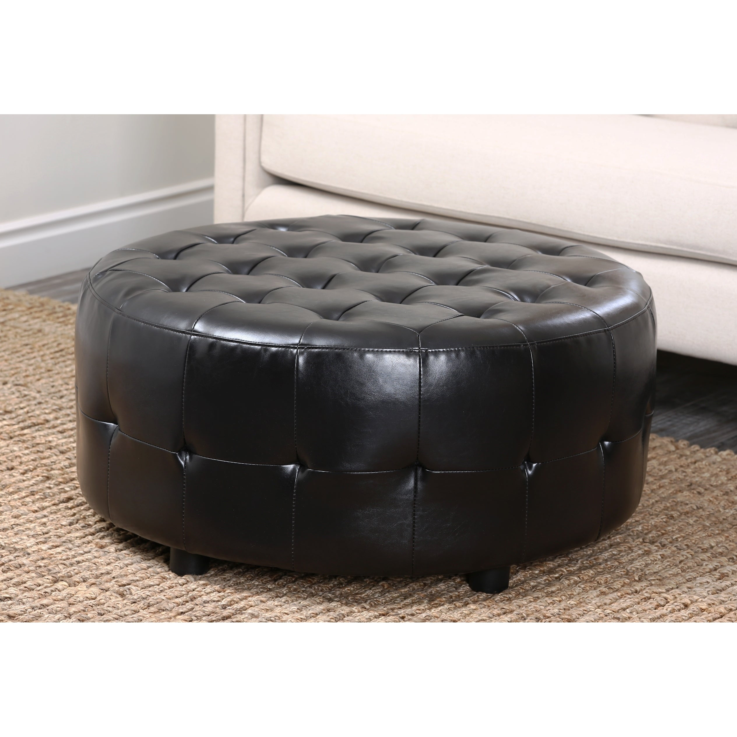 Shop Abbyson Bentley Bonded Leather Round Cocktail Ottoman