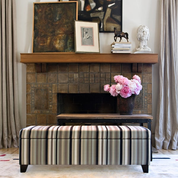 Handy Living Kent Mid-century Black Stripe Storage Ottoman