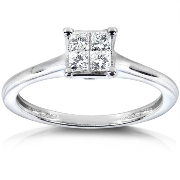 Annello by Kobelli 14k White Gold 1/3ct TDW Princess Diamond Ring (H-I, I1-I2)