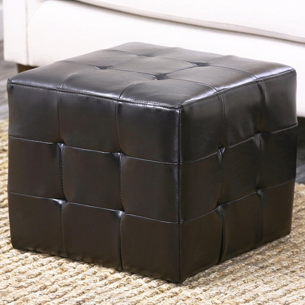 Abbyson Living Bentley Bonded Leather Cube Ottoman