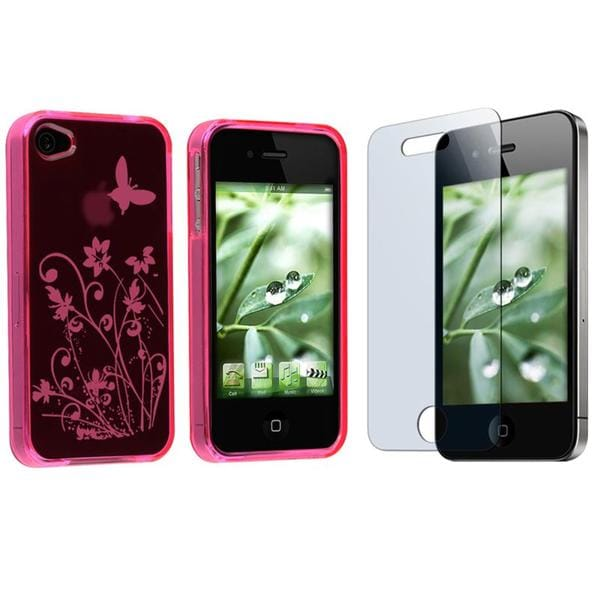 INSTEN Hot Pink Flower Butterfly Phone Case Cover/ Screen Protector for Apple iPhone 4