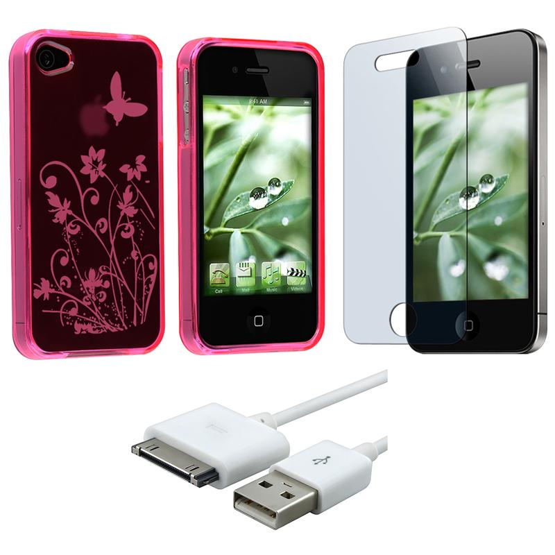 INSTEN TPU Phone Case Cover/ Screen Protector/ USB Cable for Apple iPhone 4