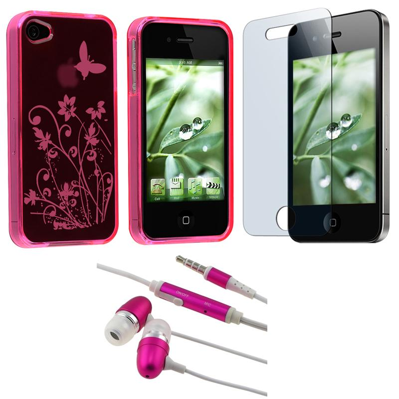 INSTEN Butterfly TPU Phone Case Cover/ LCD Protector/ Headset for Apple iPhone 4