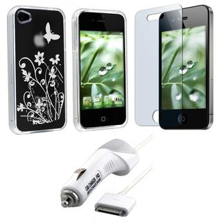INSTEN TPU Phone Case Cover/ Screen Protector/ Car Charger for Apple iPhone 4