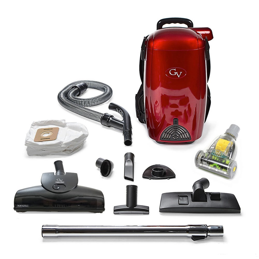 GV 8 Qt Light Powerful Hepa BackPack Vacuum, Red