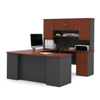 Bestar Manhattan U-shaped Workstation Desk (Option: bordeaux & graphite)