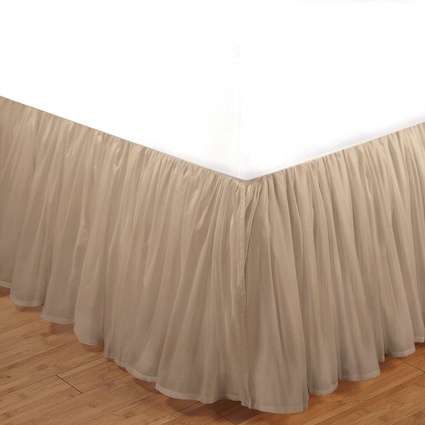 Greenland Home Fashions Linen Cotton Voile 15-inch Queen-size Bedskirt