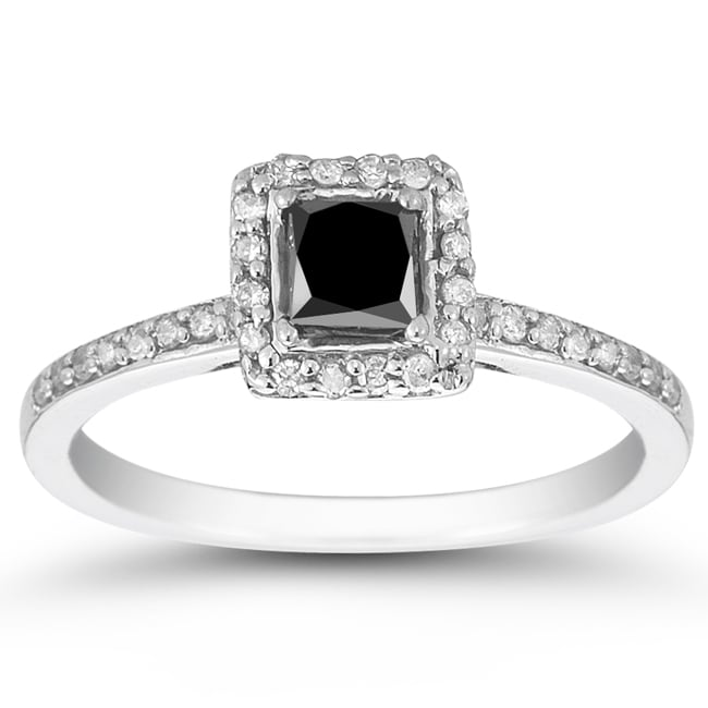 Marquee Jewels 10k White Gold 3/4ct TDW Black and White Diamond Halo Ring