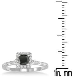Marquee Jewels 10k White Gold 3/4ct TDW Black and White Diamond Halo Ring - Thumbnail 2