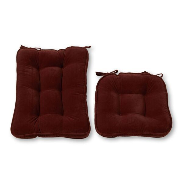 Burgundy Reversible Chair Cushion Set with String Ties