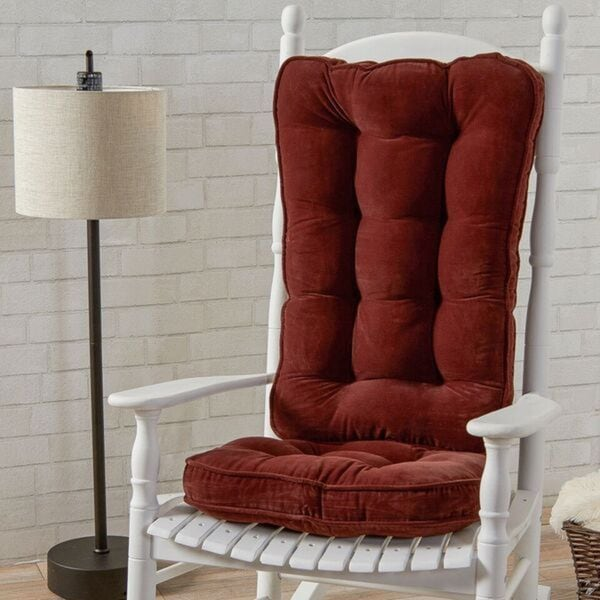 Burgundy Microfiber Reversible Rocking Chair Jumbo-size Cushion Set