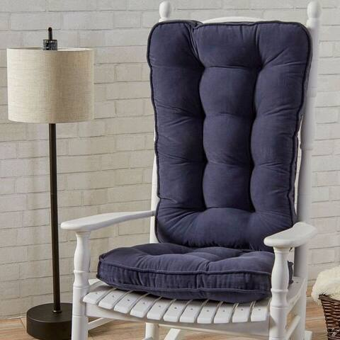 Greendale Home Fashions Denim Hyatt Jumbo Rocking Chair Cushion Set