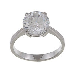 Silvertone Round-cut Cubic Zirconia Solitaire Ring