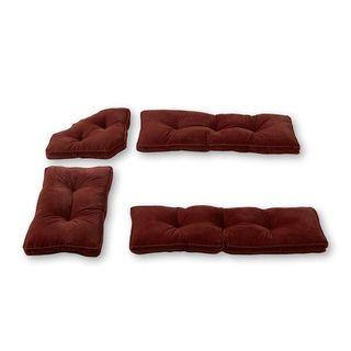 Burgundy Microfiber 4-piece Nook Cushion Set