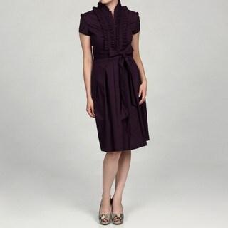 Eliza J Short Sleeve Pleated Bodice Soft Tie Shirt Dress
