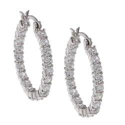Silvertone Clear Cubic Zirconia Hoop Earrings