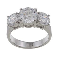 Silvertone 3-stone Cubic Zirconia Ring