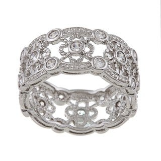 Link to Silvertone Cubic Zirconia Vintage Band Similar Items in Rings