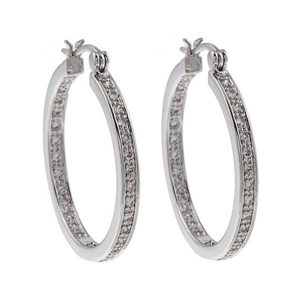 High-polish Silvertone Rhodium-plated Cubic Zirconia Hoop Earrings