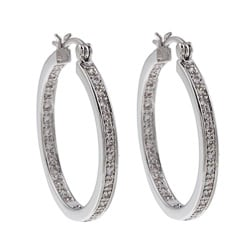 High-polish Silvertone Rhodium-plated Cubic Zirconia Hoop Earrings