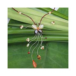 Stainless Steel 'Butter Grace' Multi-gemstone Necklace (Thailand)