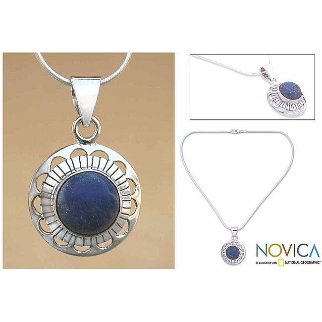 Sterling Silver 'Blue Moon Halo' Lapis Lazuli Necklace (India)