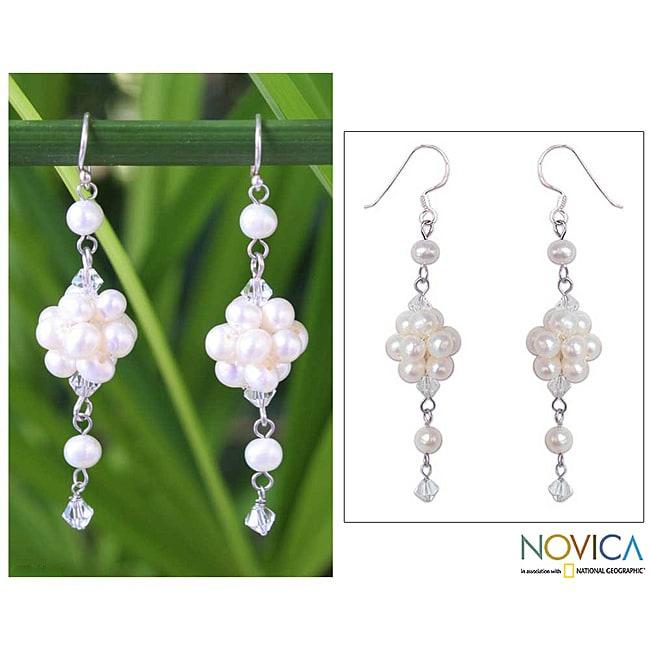 Sterling Silver 'Enchanted Bloom' Pearl Earrings (3.5-4 mm) (Thailand)