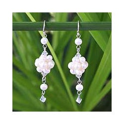 Sterling Silver 'Enchanted Bloom' Pearl Earrings (3.5-4 mm) (Thailand)