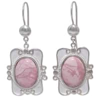 Handmade Silver 'Rose Aristocrat' Rhodonite Dangle Earrings (Peru)