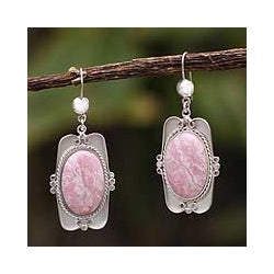 Silver 'Rose Aristocrat' Rhodonite Dangle Earrings (Peru)