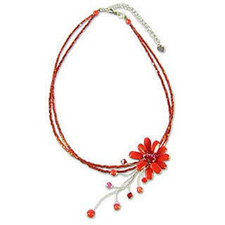 Handmade Stainless Steel 'Red Floral Chic' Beaded Glass Necklace (Thailand)