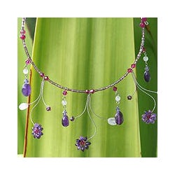 Handmade Amethyst and Rose Quartz 'Jungle Star' Necklace (Thailand)