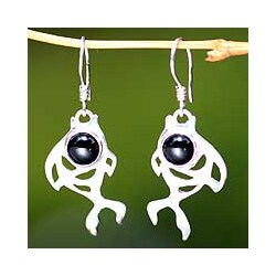Sterling Silver Handmade 'Guppies' Onyx Dangle Earrings (Indonesia)