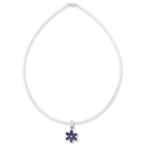 Handmade Sterling Silver 'Ocean Daisy' Iolite Necklace (India)