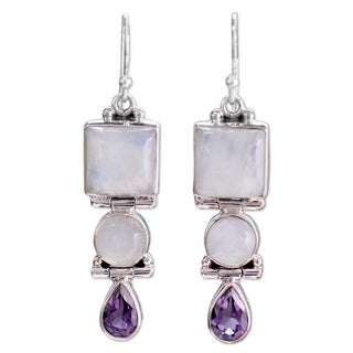 Handmade Sterling Silver 'Mystic Alliance' Multi-gemstone Earrings (India)