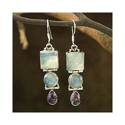 Sterling Silver 'Mystic Alliance' Multi-gemstone Earrings (India)