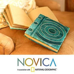 Set of 2 Natural Fiber 'Hypnotic Turquoise' Notebooks (Indonesia)