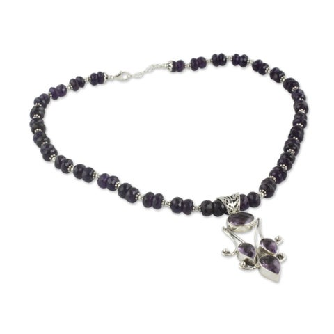 Purples Sonnet 60 Carat Rondelle Beads with Faceted Amethyst Gemstones in 925 Sterling Silver Womens Pendant Necklace (India)