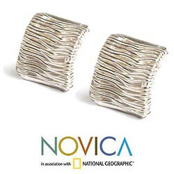 Sterling Silver 'Angelic Cascade' Button Earrings (Peru) - Thumbnail 1
