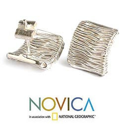 Sterling Silver 'Angelic Cascade' Button Earrings (Peru) - Thumbnail 2