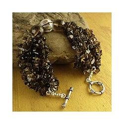 Handmade Sterling Silver 'Natural Sophistication' Smoky Quartz Bracelet (India)