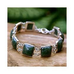 Sterling Silver 'Love's Riches' Jade Link Bracelet (Guatemala)