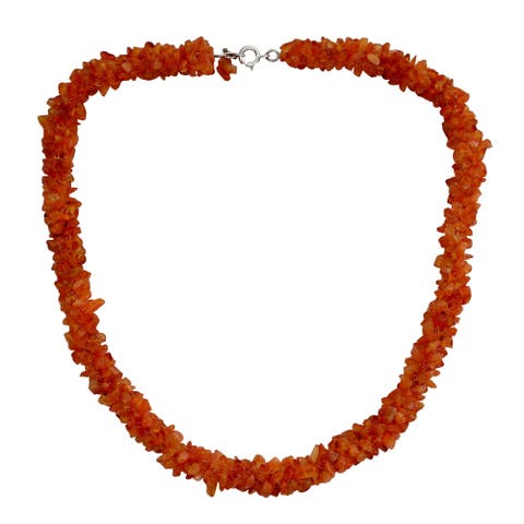 Handmade Sterling Silver 'Sunset Glow' Carnelian Beaded Necklace (India)
