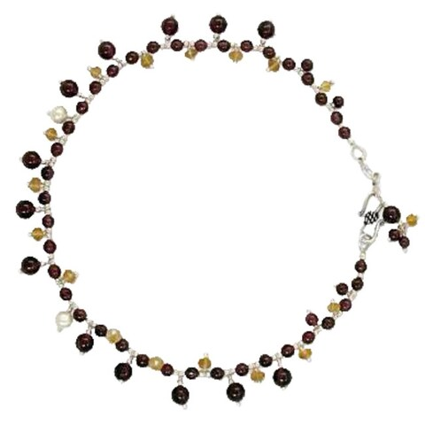 Handmade Silver 'Love Riches' Multi-gemstone Pearl Anklet (3.5-4 mm) (India)