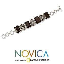 Handmade Sterling Silver Song of India Smoky Quartz Multi Stone Bracelet (India)