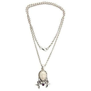 Handmade Silver 'Mother Earth Sleeps' Amethyst Necklace (Indonesia)
