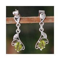 Sterling Silver 'Precious One' Peridot Dangle Earrings (India)