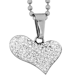 High-polish Stainless Steel Crystal Heart-shaped Pendant Necklace